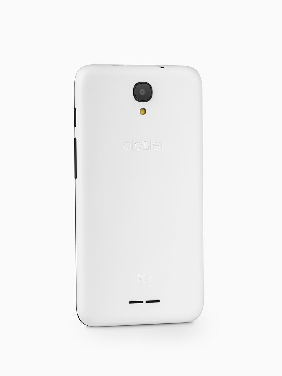 Biały telefon, packshot ilustrujący tył produktu